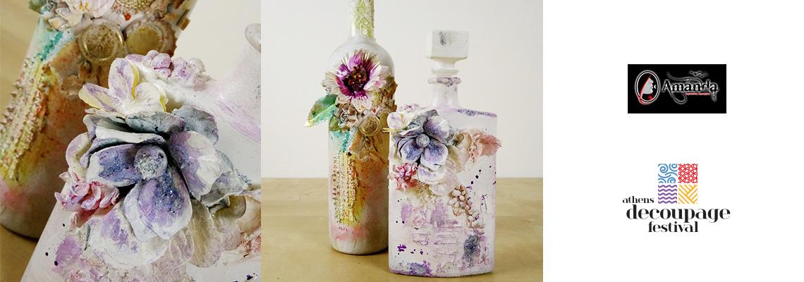 Διακόσμηση μπουκαλιού με λουλούδια και mixed media @ Art Room 3
